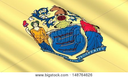 Waving flag of New Jersey state. 3D illustration.