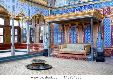 ISTANBUL, TURKEY - OCTOBER 31, 2015: Throne room in Harem section of Topkapi Palace.