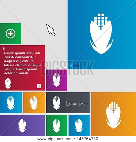Corn Icon Sign. Buttons. Modern Interface Website Buttons With Cursor Pointer. Vector