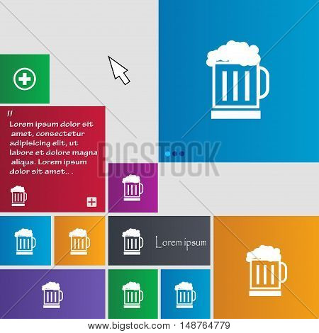 Beer Glass Icon Sign. Buttons. Modern Interface Website Buttons With Cursor Pointer. Vector