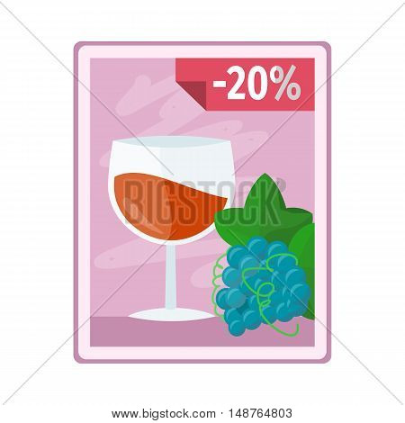 Discount on alcohol concept vector. Flat style. Poster with glass of wine, grape and interest discounts illustration