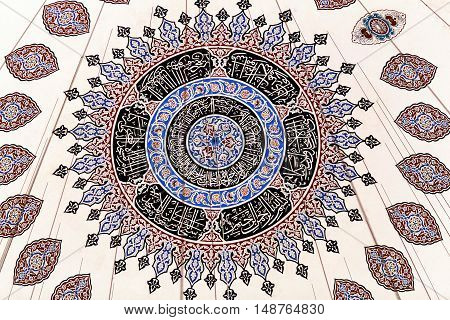 ISTANBUL, TURKEY - OCTOBER 31, 2015: Ceiling decoration of Sehzade Mosque built in 1548 by Mimar Sinan. The Sehzade Mosque is a 16th-century Ottoman imperial mosque located in the district of Fatih.
