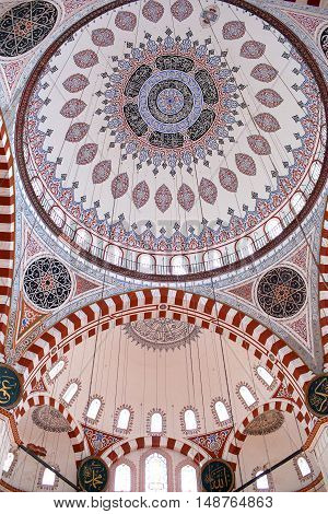 ISTANBUL, TURKEY - OCTOBER 31, 2015: Ceiling decoration of Sehzade Mosque built in 1548 by Mimar Sinan.