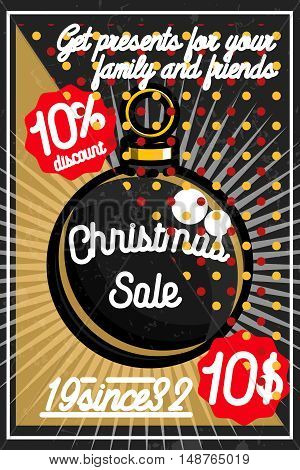 Merry Christmas sale promotion display poster. Postcard. Vector illustration, EPS 10
