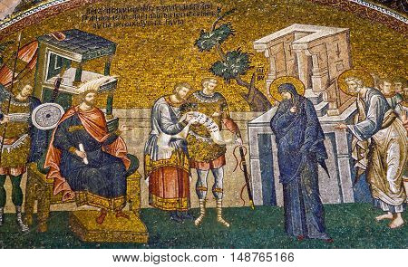 ISTANBUL, TURKEY - OCTOBER 31, 2015: Ancient mosaic in the Church of the Holy Saviour in Chora in Istanbul, Turkey.