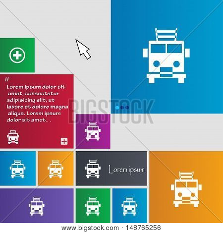 Fire Engine Icon Sign. Buttons. Modern Interface Website Buttons With Cursor Pointer. Vector