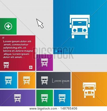 Truck Icon Sign. Buttons. Modern Interface Website Buttons With Cursor Pointer. Vector
