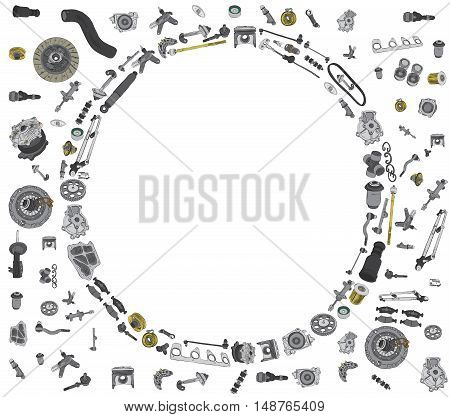 Many auto spare parts for car OEM on the white background