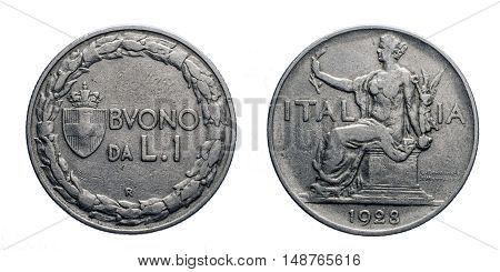 One 1 Lira Nichelio Coin 1928 Buono, Sitted Italy on back and value with Savoy arms on front, Mint of rome