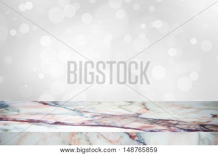white marble stone countertop or table on white blurred abstract background / empty marble / for display or montage your products