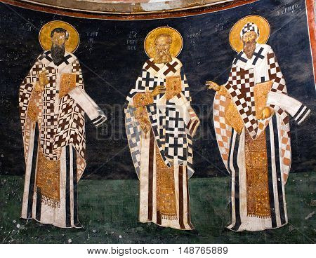 ISTANBUL, TURKEY - OCTOBER 31, 2015: Bishop figures on the apse wall of the Church of the Holy Saviour in Chora (Kariye Camii).