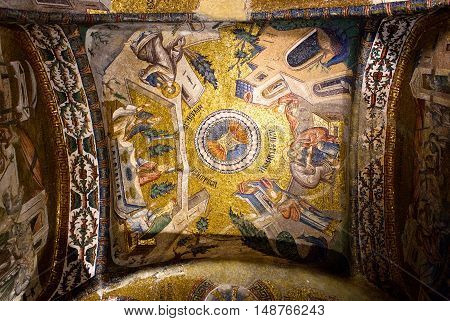 ISTANBUL, TURKEY - OCTOBER 31, 2015: Ancient mosaic in the Church of the Holy Saviour in Chora.
