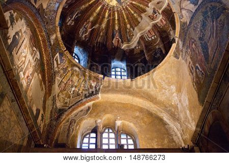 Ancient Mosaic In The Church Of The Holy Saviour In Chora In Istanbul, Turkey