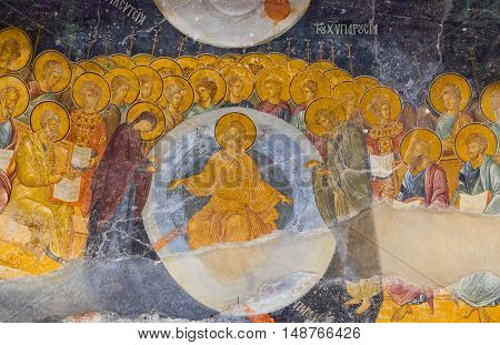 ISTANBUL, TURKEY - OCTOBER 31, 2015: Ancient painted fresco Deesis of the Church of the Holy Saviour in Chora (Kariye Camii).