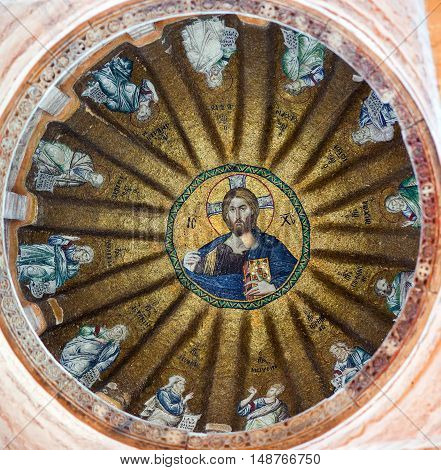 ISTANBUL, TURKEY - OCTOBER 31, 2015: View of the central dome with Christ Pantocrator surrounded by the prophets of the Old Testament in Pammakaristos Church.