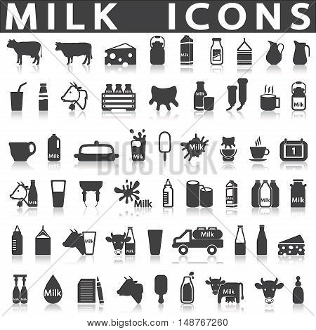 Milk icons on a white background with a shadow