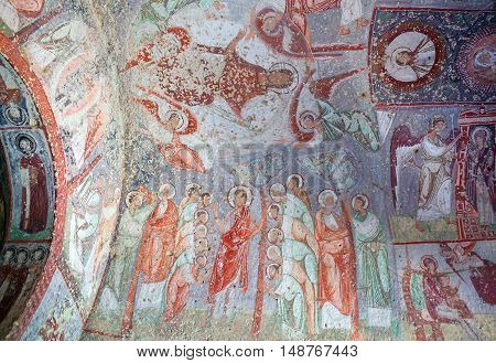 Ancient Fresco In Cavusin Church In Cappadocia, Turkey