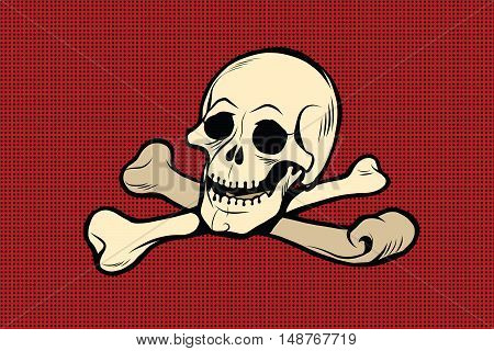 Jolly Roger. The skull and crossbones. The skeleton is the symbol of pirates and Halloween, pop art retro vector illustration