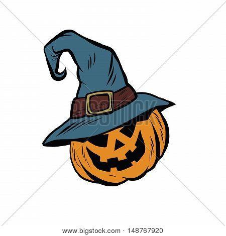 Funny Halloween pumpkin hat pilgrim, pop art retro vector illustration. The character sticker for the fall festival or carnival