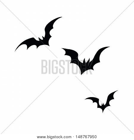 Black silhouettes of bats on a white background, pop art retro vector illustration