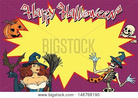 Happy Halloween background with witch, skeleton and pumpkin. pop art retro vector illustration. Copy space in centre