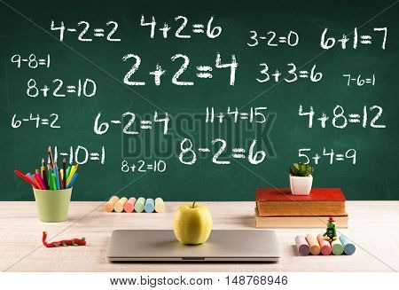 Going back to school concept with blackboard full of numbers and a busy student desk