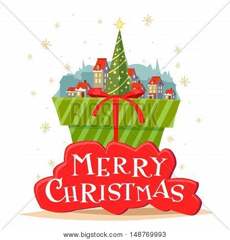 Postcard Merry Christmas with a beautiful inscription. Vector illustration of Christmas tree and village with small houses. Green gift box