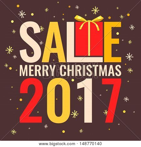 Minimalistic poster Christmas sale and discounts with a gift on a brown background.