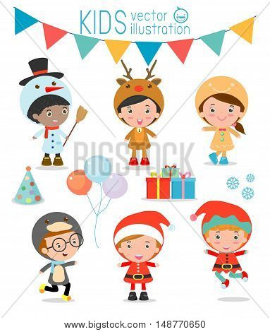 Kids With Christmas Costumes set, Vector Illustration