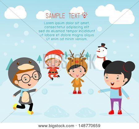 Kids With Christmas Costumes, kids in Christmas costume characters celebrate, Cute little christmas Children's collection, happy new year, christmas and children background, happy new year.