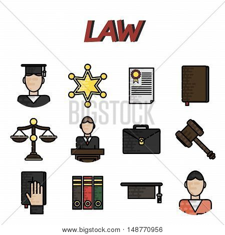 Law icon flat set with lawyer jail court jury isolated vector illustration