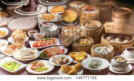 Full table of variety Chinese Dim Sum