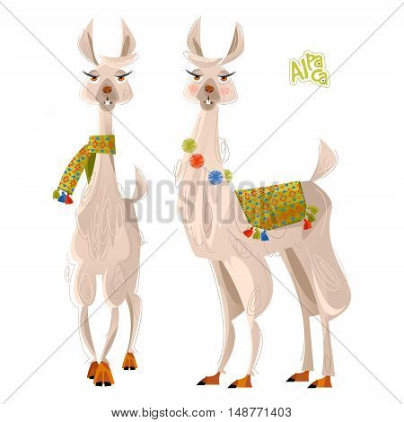 Two lamas. Alpaca. south America. Vector illustration.