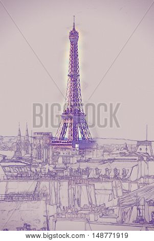 Eiffel Tower. Vintage painting, background illustration, beautiful picture, travel texture