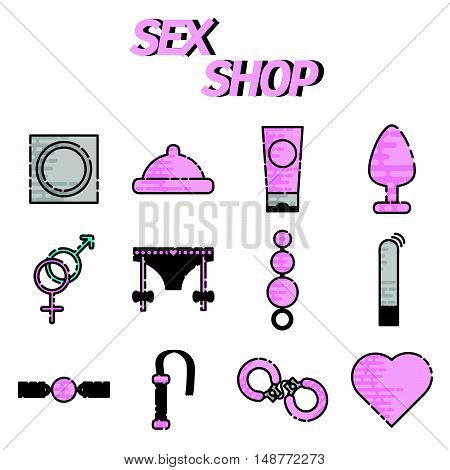 Flat style colored Sex shop icon set, sex toys, bdsm, vector illustration