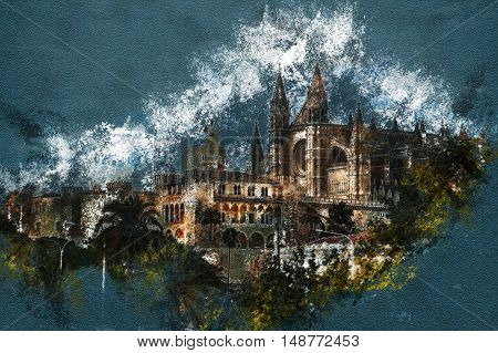Cathedral of Palma de Mallorca viewed through lush greenery of the island. Vintage painting, background illustration, beautiful picture, travel texture Beautiful travel picture of Spain.