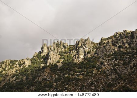 Sierra de la Cabrera, Rocky spur of the long rope. Madrid's community. Spain.