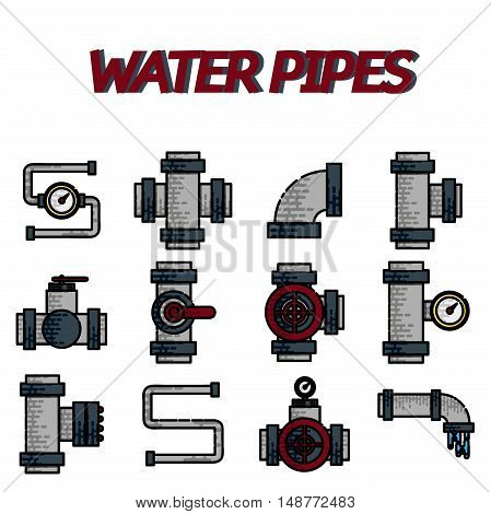 Water Pipes Flat Icons Set Isolated Vector Illustration