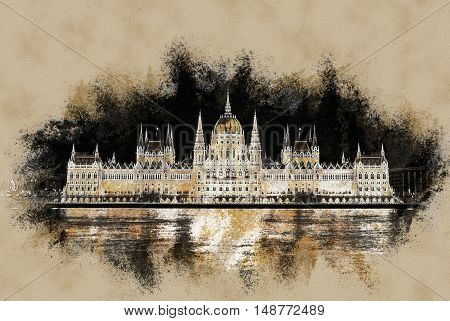 The Hungarian Parliament Building .Vintage painting, background illustration, beautiful picture, travel texture