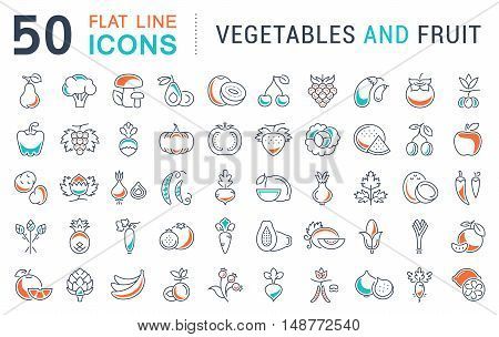 Set vector line icons in flat design Vegetable Fruit and Healthy food with elements for mobile concepts and web apps. Collection modern infographic logo and pictogram.