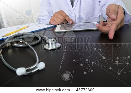 Top View Of Medicine Doctor Hand Working With Modern Computer And Digital