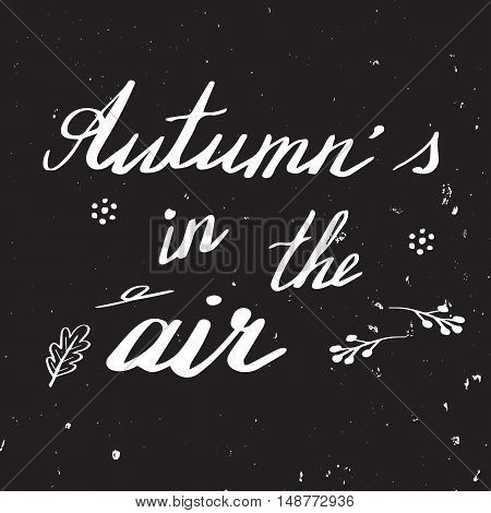 Autumn lettering and calligraphy design. Handwritten phrases. Modern brush font on autumn theme isolated on black background. Unique hand drawn calligraphic design elements for t-shirt greeting card.