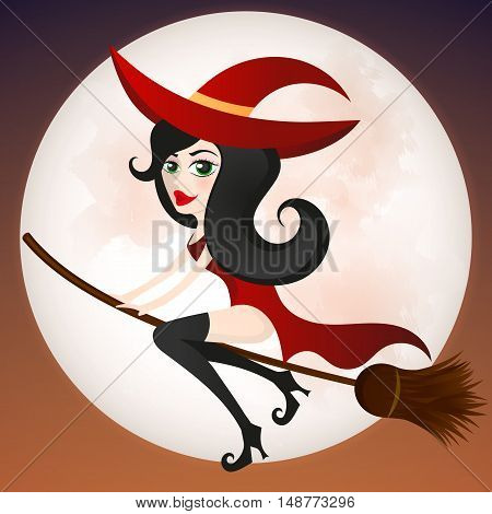 A young witch on a broomstick flying.