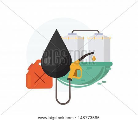 Oil and gasoline industry concept. Fuel pump,canister,drop of oil,extraction and processing.Vector illustration, flat design.