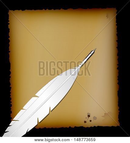 dark background, sheet of old paper and retro feather white pen