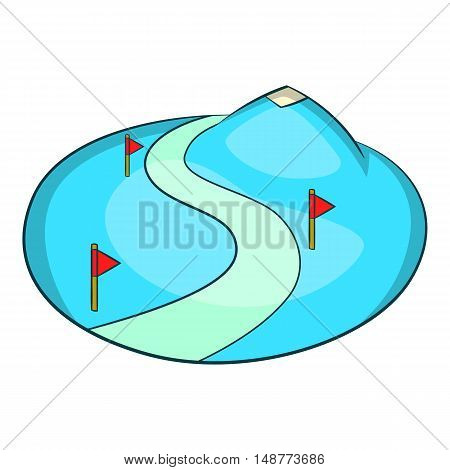 Ski slope of the snow mountain icon in cartoon style isolated on white background vector illustration