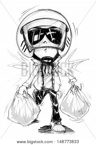 Acting Character design Bike Man walking or running from shopping Plaza Cartoon pencil free hand sketch black and white color on paper have real paper texture and noise.