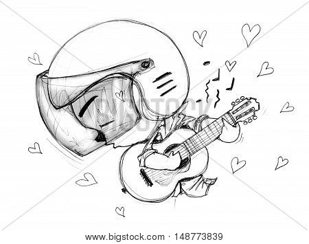 Playing Guitar love song Acting Character design Bike Man Cartoon pencil free hand sketch black and white color on paper have real paper texture and noise.