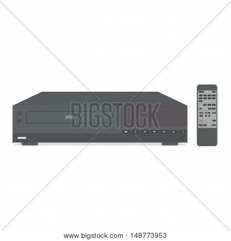 VCR with remote control for video tape. Vector illustration.