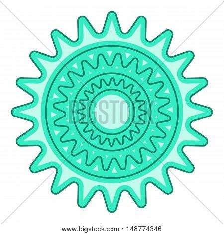 Bicycle sprocket icon in cartoon style isolated on white background vector illustration